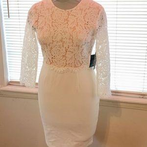 Lulus Winter White Lace Top Bodycon Dress M